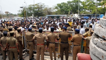 Tamil Nadu Police personnel during an anti-Sterlite protest outside Tamil Nadu Secretariat in Chennai in May. Representative image