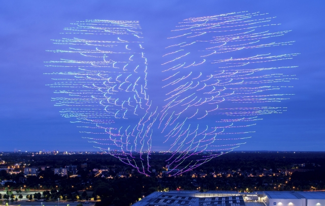 300 drones operated by the Intel company displaying a heart in the evening sky, as part of the CEBIT technology fair in Hannover, Germany.