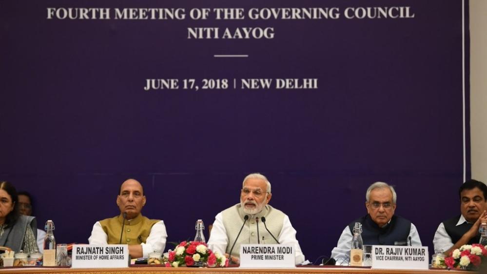 Prime Minister Narendra Modi, home minister Rajnath Singh, Niti Aayog VC Rajiv Kumar and minister for transport and water ways Nitin Gadkari at the Niti Aayog meeting in New Delhi on June 17