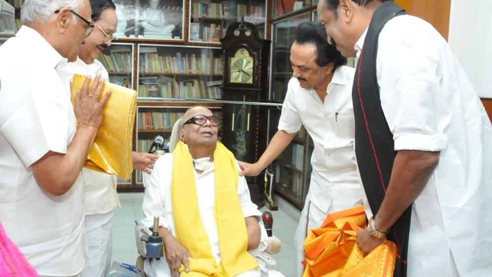 File photo: Dravida Munnetra Kazhagam (DMK) chief M Karunanidhi with MDMK chief Vaiko and DMK acting president M.K. Stalin