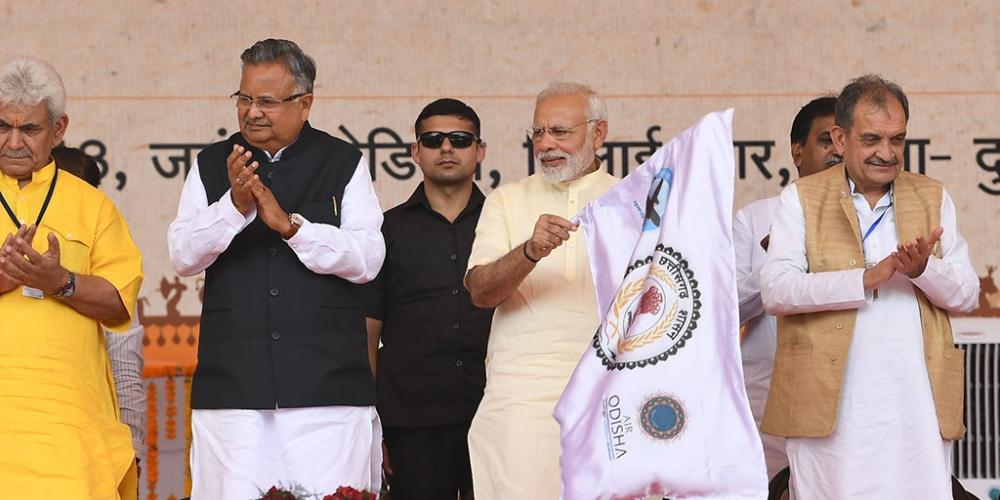 Prime Minister Narendra Modi inaugurating the air services between Jagdalpur and Raipur, at a function in Bhilai, Raipur, on June 14 (file photo)