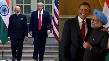 Prime Minister Narendra Modi with US President Donald Trump; Former US PResident Barack Obama with Manmohan Singh