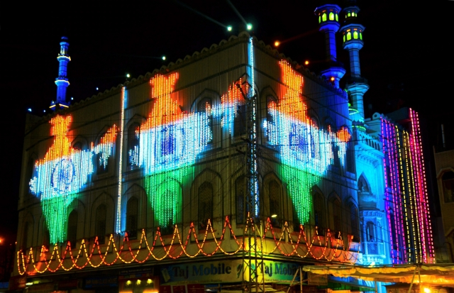 A mosque lit up with a map of India during the holy month of Ramadan, in Bhilwara, ahead of Eid al-Fitr.