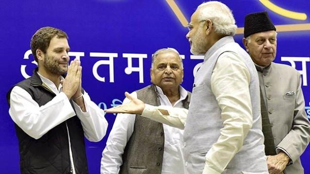 Congress President Rahul Gandhi greets Prime Minister Narendra Modi (a file photo)