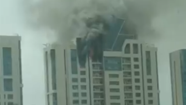 The top floor of Beaumonde building which houses Bollywood actress Deepika Padukone's house and office caught fire on Wednesday