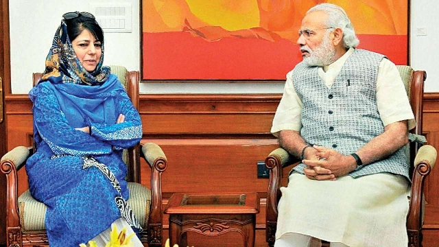 Former J&K CM Mehbooba Mufti with Prime Minister Narendra Modi (file photo)