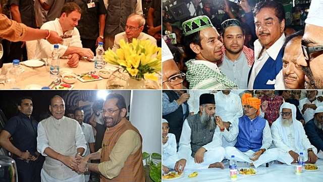 Congress President Rahul Gandhi with former President Pranab Mukherjee at the Congress iftar party in Delhi (top left); RJD leaders Tejashwi Yadav and Tej Pratap Yadav with BJP MP Shatrughan Sinha during an iftaar party at their residence in Patna (top right/IANS); BJP MP Mukhtar Abbas Naqvi welcomes Home Minister Rajnath Singh at his iftar party in Delhi (below left); MP CM Shivraj Singh Chouhan at his iftar party, all on June 13 (IANS)