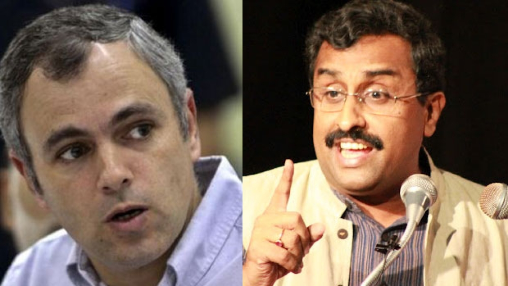 National Conference leader Omar Abdullah (left) and BJP leader Ram Madhav (right)