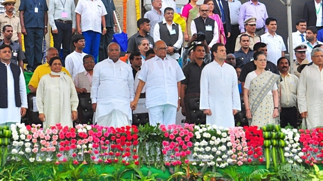 Samajwadi Party chief Akhilesh Yadav, BSP chief Mayawati, Congress leaders Sonia Gandhi, Rahul Gandhi and Mallikarjun Kharge, NCP chief Sharad Pawar and CPI(M) general secretary Sitaram Yechury (file photo)
