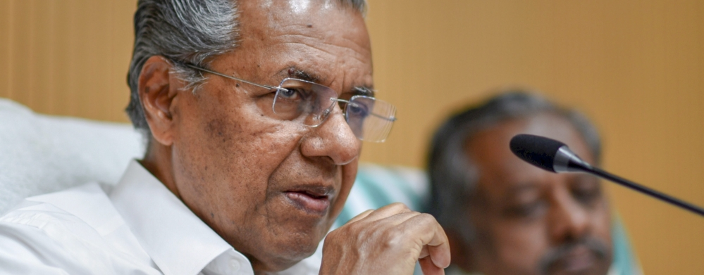 Kerala CM Pinarayi Vijayan addressing a press conference at Kerala House, New Delhi