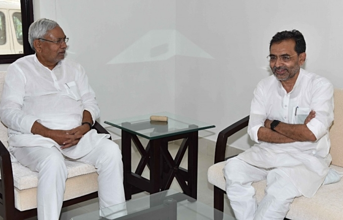 Bihar Chief Minister Nitish Kumar with Union Minister Upendra Kushwaha in Patna on May 25, 2018