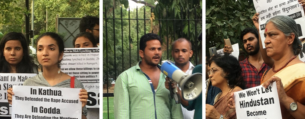 Mohammed Nadeem (centre), younger brother of Qasim Qureshi who was lynched in Bajhera gaon near Pilkhuwa in Uttar Pradesh's Hapur district earlier this week, at a protest (left, right) at Delhi's Parliament Street on June 22
