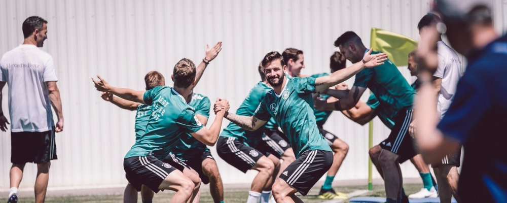 German players in training in Sochi, Russia ahead of a FIFA football World Cup Group F match with Sweden