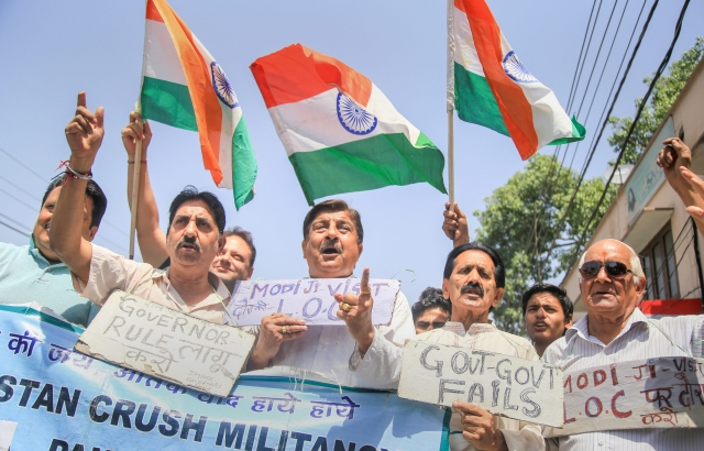 Members of Jammu West Assembly movement protest the recent firing by Pakistan Rangers along the International Border in Samba district, in Jammu.