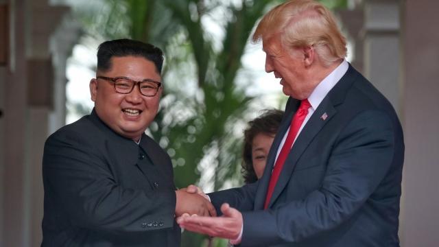File photo of Kim Jong-un and Donald Trump