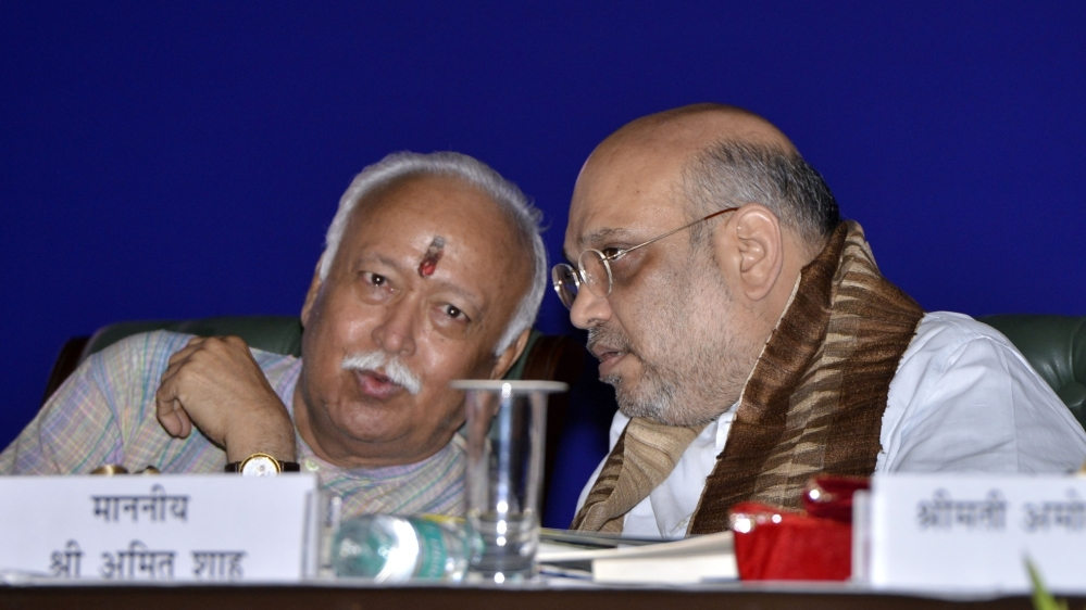 RSS Chief Mohan Bhagwat and BJP President Amit Shah (file photo)