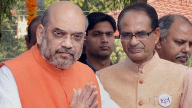 A file photo of BJP President Amit Shah with Madhya Pradesh CM Shivraj Singh Chouhan