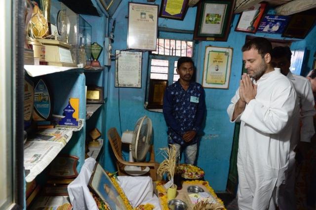 Congress President Rahul Gandhi during his visit to the residence of rice innovator Late Dadaji Ramaji Khobragade, in Maharashtra Nanded.