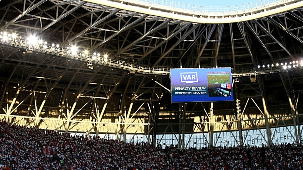 VAR penalty review is annonced on the board during the 2018 FIFA World Cup Russia group C match between Peru and Denmark at Mordovia Arena on June 16, 2018 in Saransk, Russia