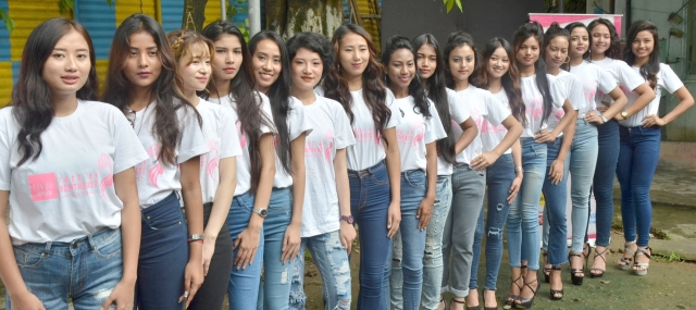 Models selected as the final participants for a contest of Faces of Northeast 2018 during a press conference, in Guwahati.
