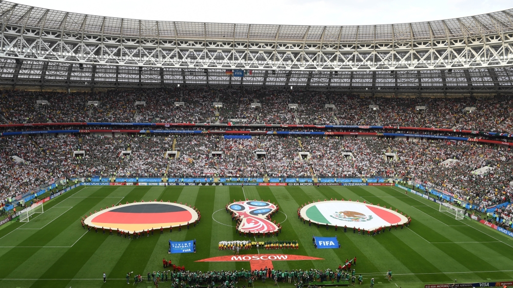 The pre-game ceremony prior to a group F match between Germany and Mexico at the 2018 FIFA World Cup in Moscow, Russia.