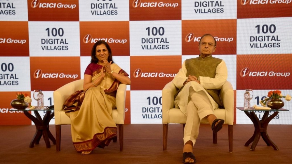 Finance Minister Arun Jaitley with MD & CEO of ICICI Bank Chanda Kochhar (file photo)