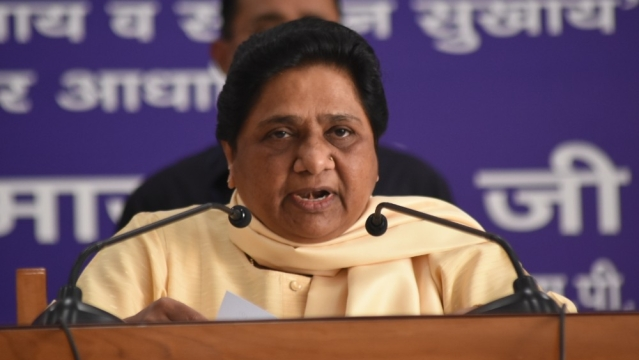 Bahujan Samaj Party President Mayawati addresses a press conference during the party's national executive committee meeting, in Lucknow on May 26, 2018
