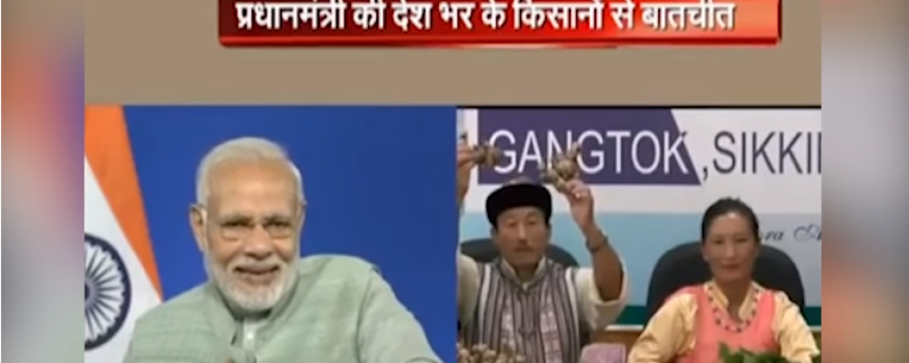 Grab from a BJP video of PM Modi interacting with farmers in Sikkim