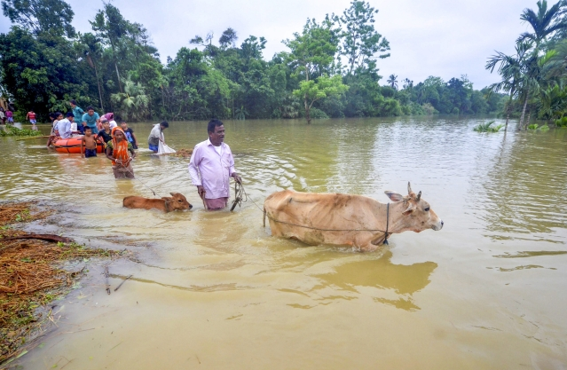 Villagers move through the waters at Mog Para village after heavy downpour in Sabroom, about 137 kms from Agartala.