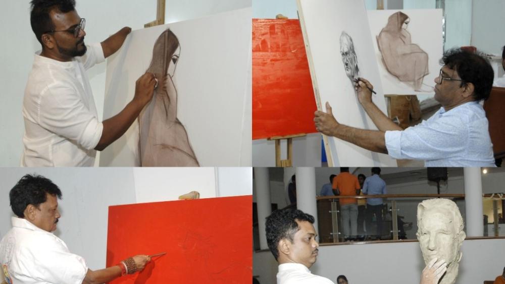 Senior artists Vijay Rout, Ravinder Salve, Swapnil Kadam and Siddharth Shingade