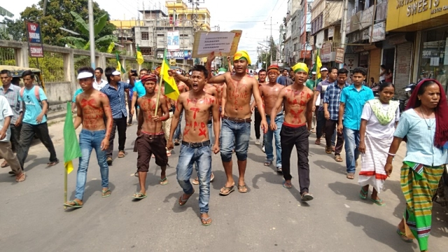 File photo of Indigenous Peoples Front of Tripura (IPFT) activists staging a demonstration in Agartala. Representative image