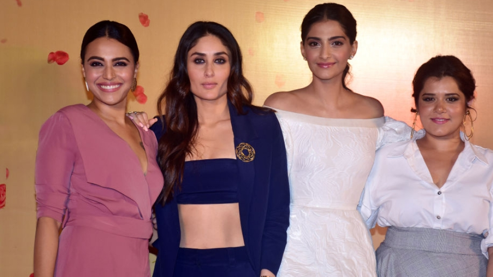 File photo: Swara Bhasker, Kareena Kapoor Khan, Sonam Kapoor and Shikha Talsania (L-R) pose during the 'Veere Di Wedding' film trailer launch