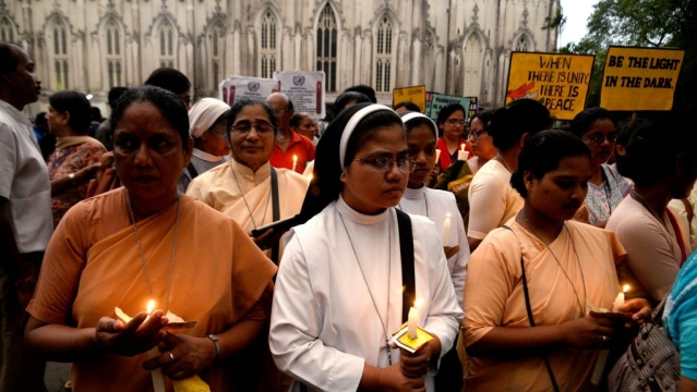 Christian nuns participate in a candle light march against increasing incidents of rape, in Kolkata in April 2017. Representative image