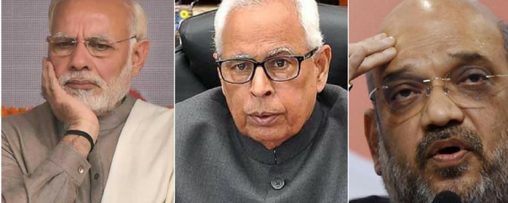 File photo of PM Narendra Modi, NN Vohra and Amit Shah