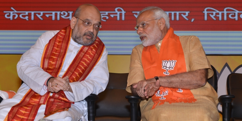 Prime Minister Narendra Modi (right) and BJP President Amit Shah during a party meeting in New Delhi, on May 17, 2018