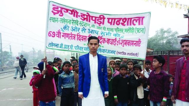 Sifiyan Azad runs a school in Bihar to educate street urchins near Taregana Railway Station