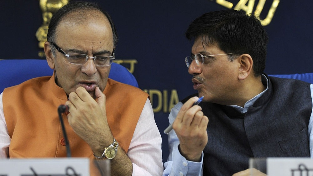 File photo of Arun Jaitley, Union Minister of Finance as per Finance Ministry website (left); with Piyush Goyal, Union Minister of Finance as per Prime Minister's Office website. Representative image