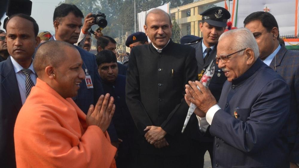 Uttar Pradesh Chief Minister Yogi Adityanath greets Governor Ram Naik (file photo)