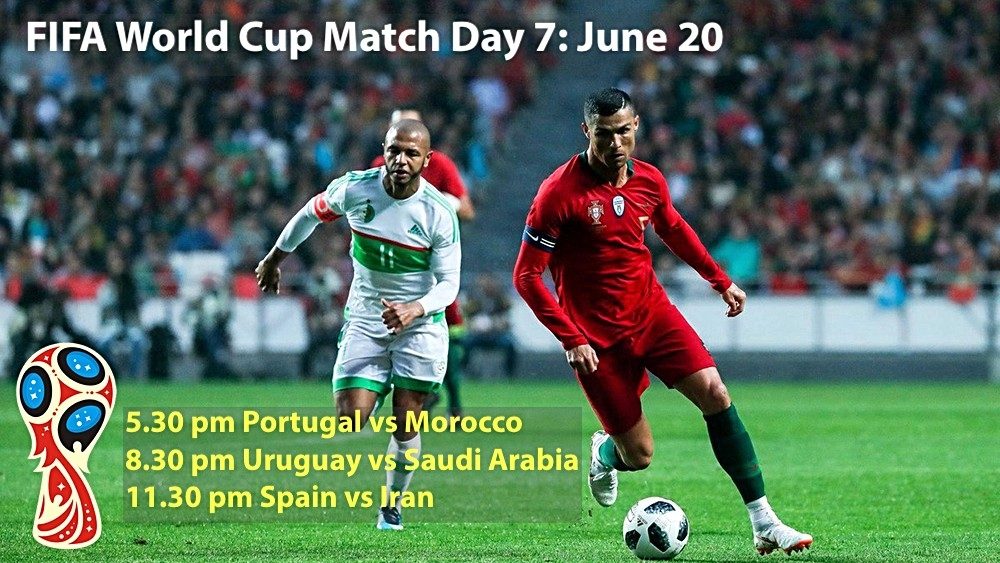 Portuguese captain Cristiano Ronaldo will be in action again today, June 20 as Portugal take on Morocco in their second Group B match at 5.30 pm IST