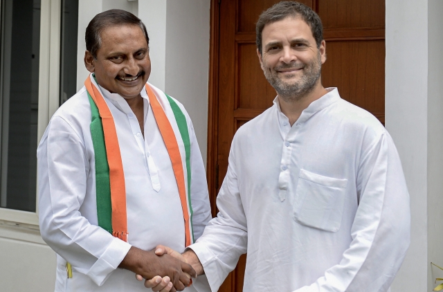 Congress President Rahul Gandhi welcomes former chief minister of united Andhra Pradesh N Kiran Kumar Reddy as he re-joins the party, in New Delhi. Reddy had left the Congress in 2014 in protest against the bifurcation of the state of Andhra Pradesh.