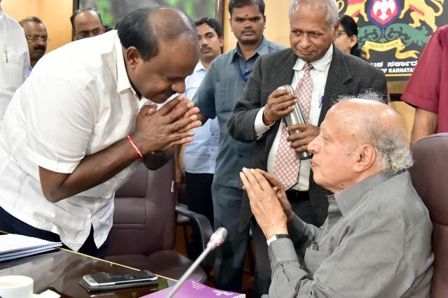 Karnataka Chief Minister H. D. Kumaraswamy meets Indian Geneticist Dr. M. S. Swaminathan at Vidhan Soudha in Bengaluru.