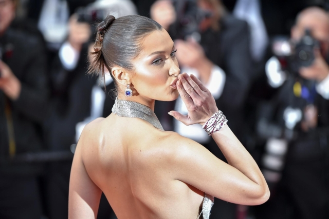 """Model Bella Hadid poses on the red carpet for the premiere of the film """"BlacKkKlansman"""" during the 71st Cannes International Film Festival in Cannes, France. The 71st Cannes International Film Festival is held from May 8 to May 19."""