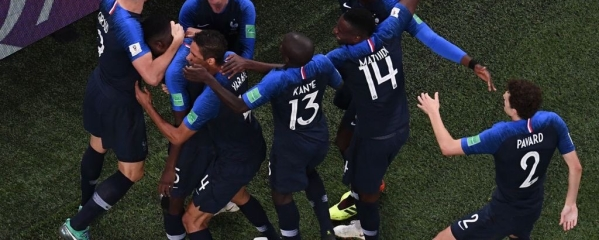 France celebrate the goal by Samuel Umtiti in the 51st minute of the match
