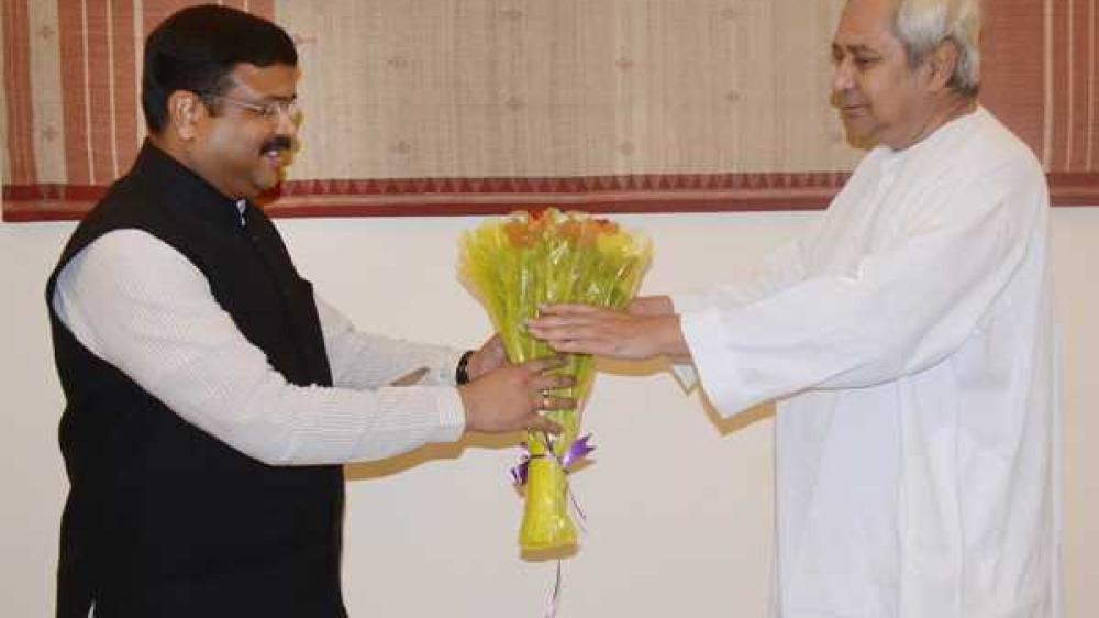 Chief Minister Naveen Patnaik with Dharmendra Pradhan, Union Minister, Petroleum and Natural Gas