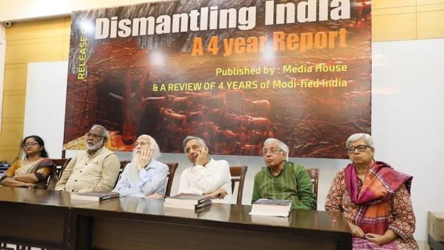 (From right to left) Social activist Shabnam Hashmi, former diplomat and senior write Ashok Bajpai, senior leader Mani Shankar Aiyar, economist Arun Kumar, human rights activists John Dayal and Leena Dabiru at the launch of the repor, 'Dismantling India'