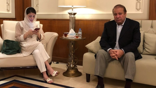 Former Pakistan PM Nawaz Sharif and his daughter Maryam Nawaz at Abu Dhabi airport