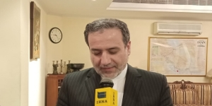 Iran's deputy foreign minister Abbas Araqchi talking to IRNA in New Delhi on Monday