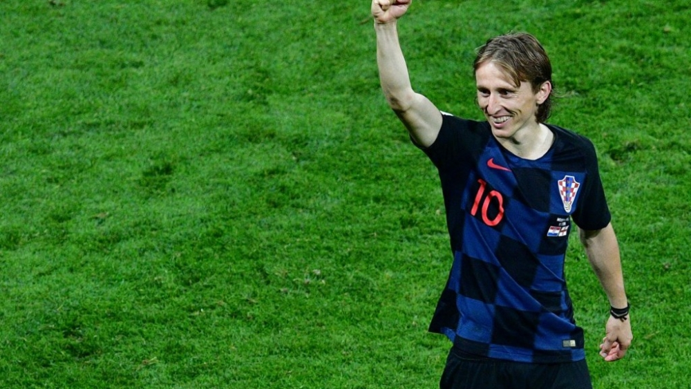 Luka Modric celebrates after his team defeated England in the semi-final of FIFA World Cup 2018