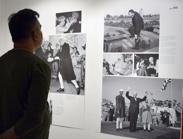 A photo exhibition organised at the American Center to mark 70 years of Indo-US relations.
