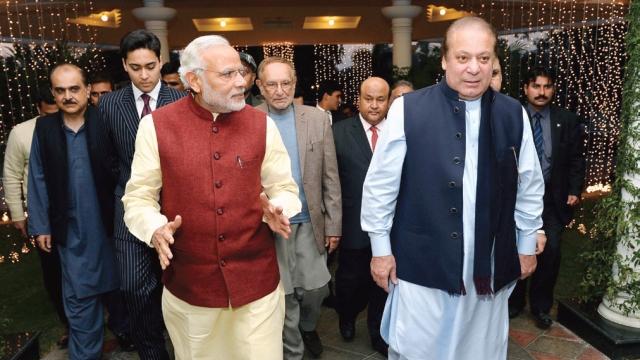 Nawaz Sharif with Prime Minister Narendra Modi